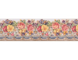 7 in x 15 ft Prepasted Wallpaper Borders - Floral Wall Paper Border 5803407