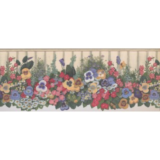 9 in x 15 ft Prepasted Wallpaper Borders - Floral Wall Paper Border 5806935