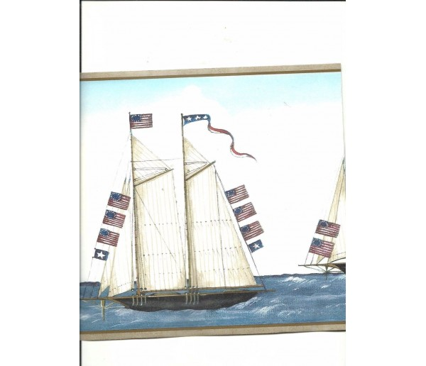 Sea World Wall Borders: Taupe Sail Boat Wallpaper Border