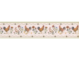 5 in x 15 ft Prepasted Wallpaper Borders - Roosters Wall Paper Border 5808345