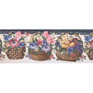 8 1/2 in x 15 ft Prepasted Wallpaper Borders - Fruits And Floral Wall Paper Border 5810417