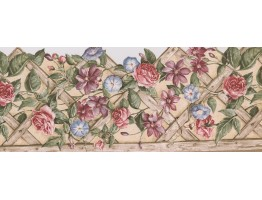 10 1/4 in x 15 ft Prepasted Wallpaper Borders - Floral Wall Paper Border 5813760