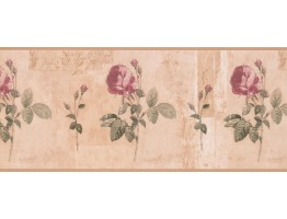 10 1/4 in x 15 ft Prepasted Wallpaper Borders - Floral Wall Paper Border 5909 KH