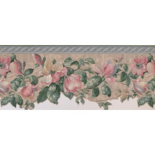 10 1/4 in x 15 ft Prepasted Wallpaper Borders - Floral Wall Paper Border 592227