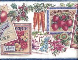Flower and Vegetables Wallpaper Border 594856