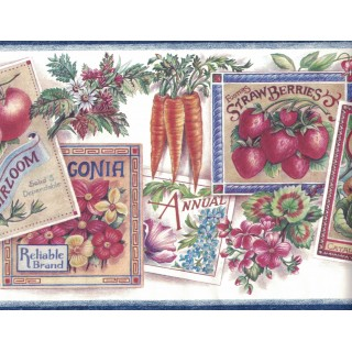 9 in x 15 ft Prepasted Wallpaper Borders - Flower and Vegetables Wall Paper Border 594856