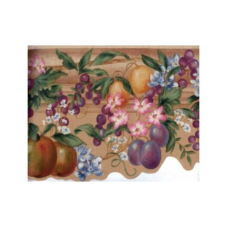 10 in x 15 ft Prepasted Wallpaper Borders - Tropical Fruit Wall Paper Border 5957 KH