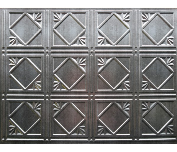 Wall Panels Backsplash Tiles  - Decorative Thermoplastic Tile 18 X 24 Artnouvo Crosshatch Silver
