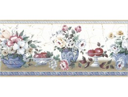 Prepasted Wallpaper Borders - Fruits and Flower Wall Paper Border 73165