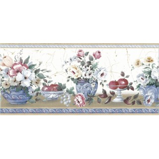 7 in x 15 ft Prepasted Wallpaper Borders - Fruits and Flower Wall Paper Border 73165