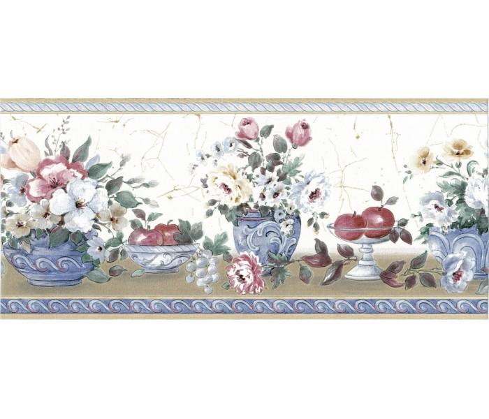 Garden Wallpaper Borders: Fruits and Flower Wallpaper Border 73165