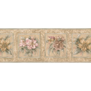 9 in x 15 ft Prepasted Wallpaper Borders - Floral Wall Paper Border 75708 HB
