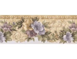 Prepasted Wallpaper Borders - Floral Wall Paper Border 75713 HB