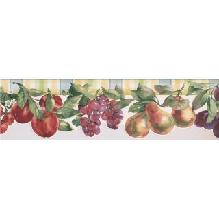 6 1/4 in x 15 ft Prepasted Wallpaper Borders - Fruits Wall Paper Border 75974 BB
