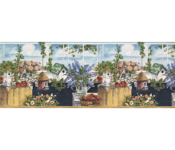 Prepasted Wallpaper Borders - Birds House Wall Paper Border 75984 BB