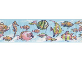 Prepasted Wallpaper Borders - Fish Wall Paper Border 7600 CK
