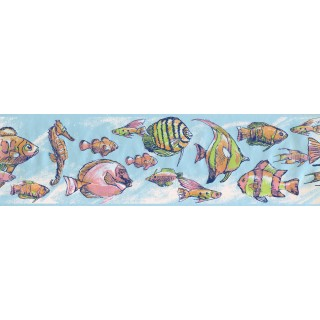 6 3/4 in x 15 ft Prepasted Wallpaper Borders - Fish Wall Paper Border 7600 CK