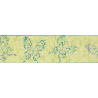 6 3/4 in x 15 ft Prepasted Wallpaper Borders - Butterfly Wall Paper Border 7610 CK