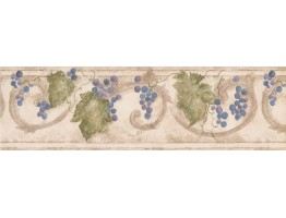 Prepasted Wallpaper Borders - Grape Fruits Wall Paper Border 76660 KF