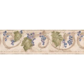 7 in x 15 ft Prepasted Wallpaper Borders - Grape Fruits Wall Paper Border 76660 KF