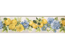 6.25 in x 15 ft Prepasted Wallpaper Borders - Fruits Wall Paper Border 77663 MK