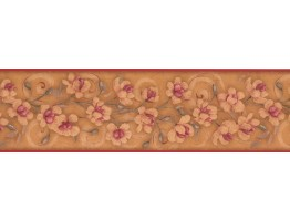 Prepasted Wallpaper Borders - Floral Wall Paper Border 7775 KM