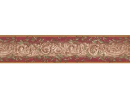 Prepasted Wallpaper Borders - Damask Wall Paper Border 7852 KM