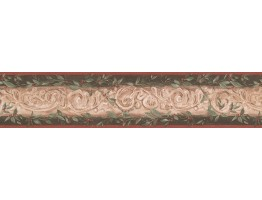 5 1/4 in x 15 ft Prepasted Wallpaper Borders - Damask Wall Paper Border 7853 KM