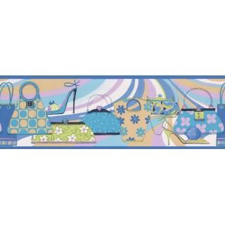 7 in x 15 ft Prepasted Wallpaper Borders - Hand Bags Wall Paper Border 79201 GU