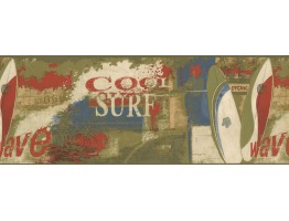 Prepasted Wallpaper Borders - Cool Surf Wall Paper Border 79215 GU