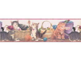 Prepasted Wallpaper Borders - Cats Wall Paper Border 79257 GU