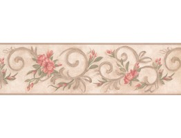 Prepasted Wallpaper Borders - Floral Wall Paper Border 7957 KM