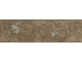 Prepasted Wallpaper Borders - Floral Wall Paper Border 7958 KM