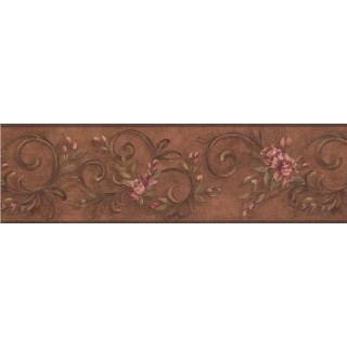 6 3/4 in x 15 ft Prepasted Wallpaper Borders - Floral Wall Paper Border 7960 KM