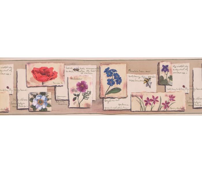 Garden Wallpaper Borders: Floral Wallpaper Border 811 AB