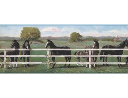 9 in x 15 ft Prepasted Wallpaper Borders - Horses Wall Paper Border 8243 RU