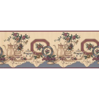 9 in x 15 ft Prepasted Wallpaper Borders - Kitchen Wall Paper Border 8331 CS