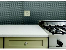 Backsplash Tiles  - Decorative Thermoplastic Tile 18 X 24 Claasic Mozaic Brushed Nickel