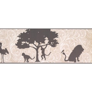 9 in x 15 ft Prepasted Wallpaper Borders - Animals Wall Paper Border 9269 YS