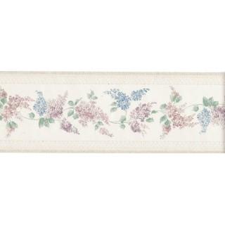 3 7/8 in x 15 ft Prepasted Wallpaper Borders - Flower Wall Paper Border 965B80713