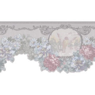 6 1/2 in x 15 ft Prepasted Wallpaper Borders - Floral Wall Paper Border 974B61784