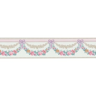 5 1/8 in x 15 ft Prepasted Wallpaper Borders - Floral Wall Paper Border B69576
