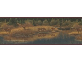 Prepasted Wallpaper Borders - Deer Moose Wall Paper Border 2083 ADV
