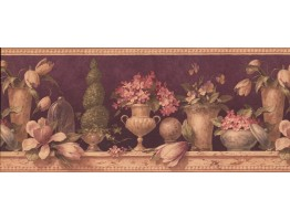 Prepasted Wallpaper Borders - Floral Wall Paper Border 5022 AU