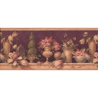 10 1/4 in x 15 ft Prepasted Wallpaper Borders - Floral Wall Paper Border 5022 AU