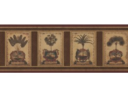 Prepasted Wallpaper Borders - Palm Tree Wall Paper Border 5081 AU