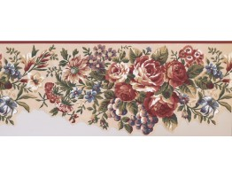 10 in x 15 ft Prepasted Wallpaper Borders - Floral Wall Paper Border 5111 AU