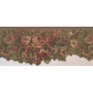 10 in x 15 ft Prepasted Wallpaper Borders - Floral Wall Paper Border 5112 AU