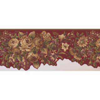 10 in x 15 ft Prepasted Wallpaper Borders - Floral Wall Paper Border 5113 AU