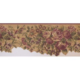 10 in x 15 ft Prepasted Wallpaper Borders - Floral Wall Paper Border 5114 AU